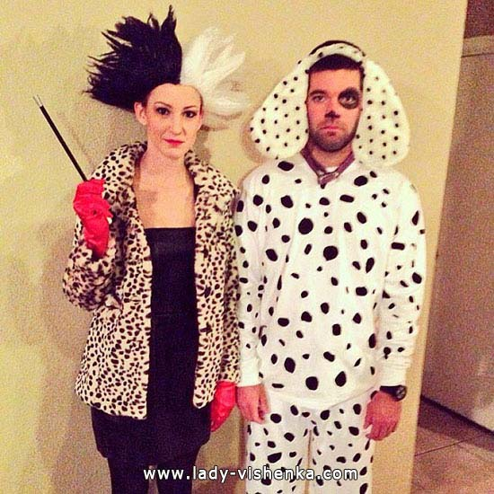Cruella de Ville and dalmatian costumes