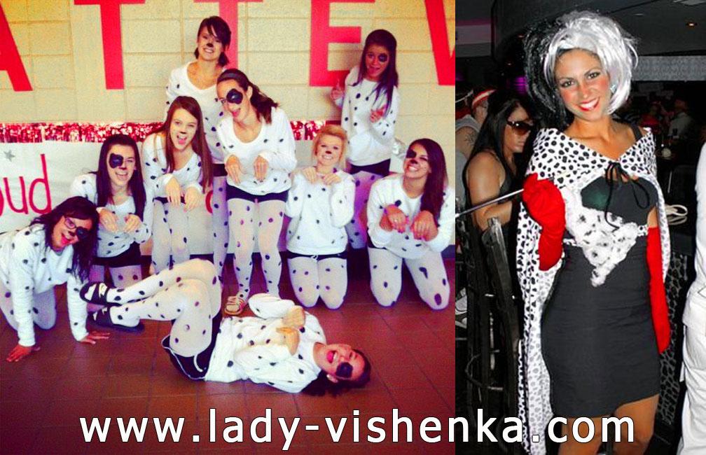 Dalmatians and Cruella Deville costumes