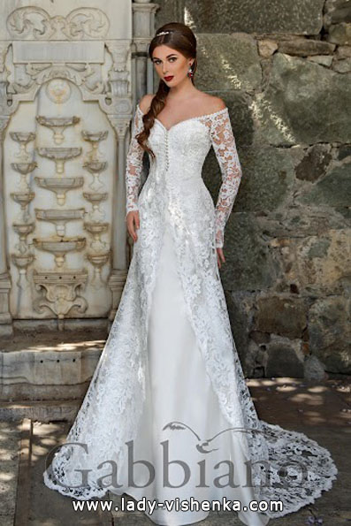 Wedding dresses with lace sleeves - Gabbiano