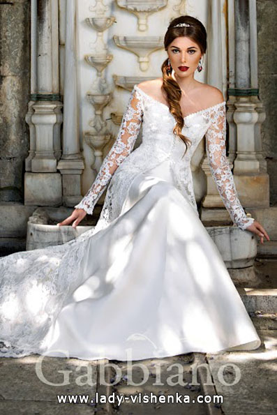 Wedding dresses with lace sleeves photos Gabbiano