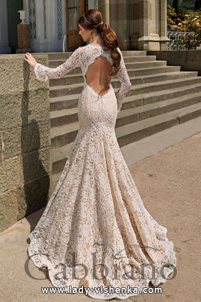 Wedding dress fish with lace sleeve Gabbiano
