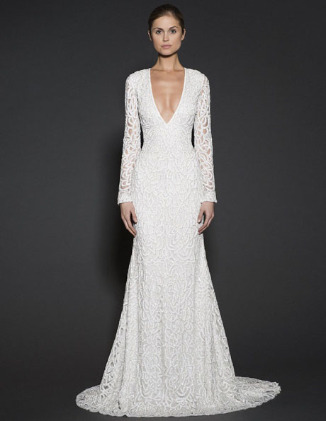 Wedding dresses with lace sleeves - Naeem Khan
