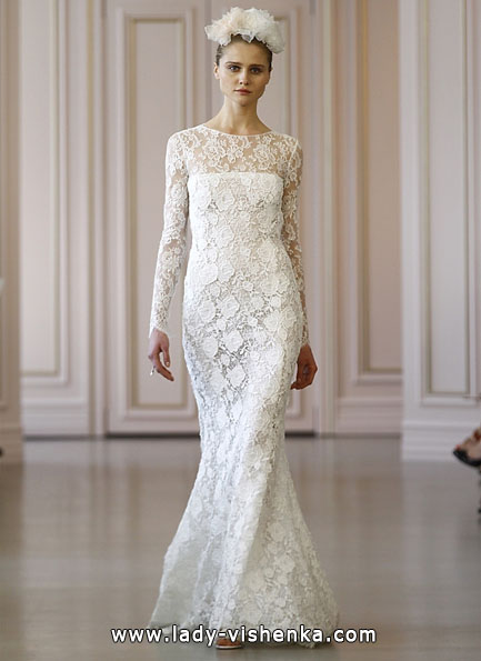 Wedding dresses with lace sleeves Oscar De La Renta