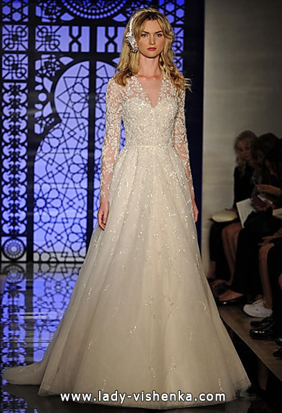 Wedding dresses with lace sleeves Reem Acra