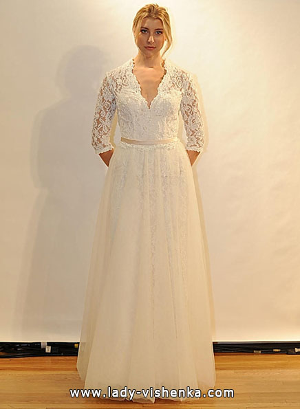 Wedding dresses with lace sleeves Val Stefani