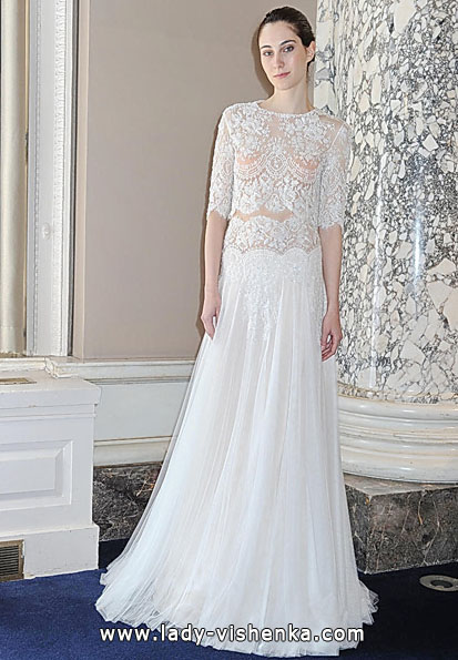 Wedding dresses with lace sleeves photos Christos Costarellos